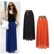 Stylish Lady 2 Layer Maxi Chiffon Pleated Elastic Waist Skirt
