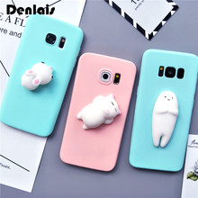 For Samsung Galaxy S5 S6 Edge S7 Edge S8 S8 Plus Note 3/4/5 Case Squishy 3D Silicon Cartoon Cat Rabbit Seal Bear Cute Phone Case(China)