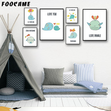 FOOCAME Cartoon Marine Animals Whale Posters and Prints Art Canvas Painting Modern Home Decoration Wall Pictures Children Room
