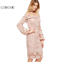 COLROVIE Elegant Dress Women Pink Embroidered Lace Overlay Long Sleeve Off The Shoulder Knee Length Dress C1202(China)