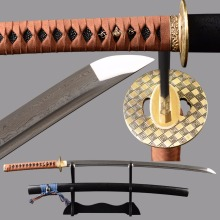 Shijian Swords Real Leather Handle Knife Sharp Tameshigiri Japanese Sword Damascus Samurai Katana Folded Steel Full Tang Sword