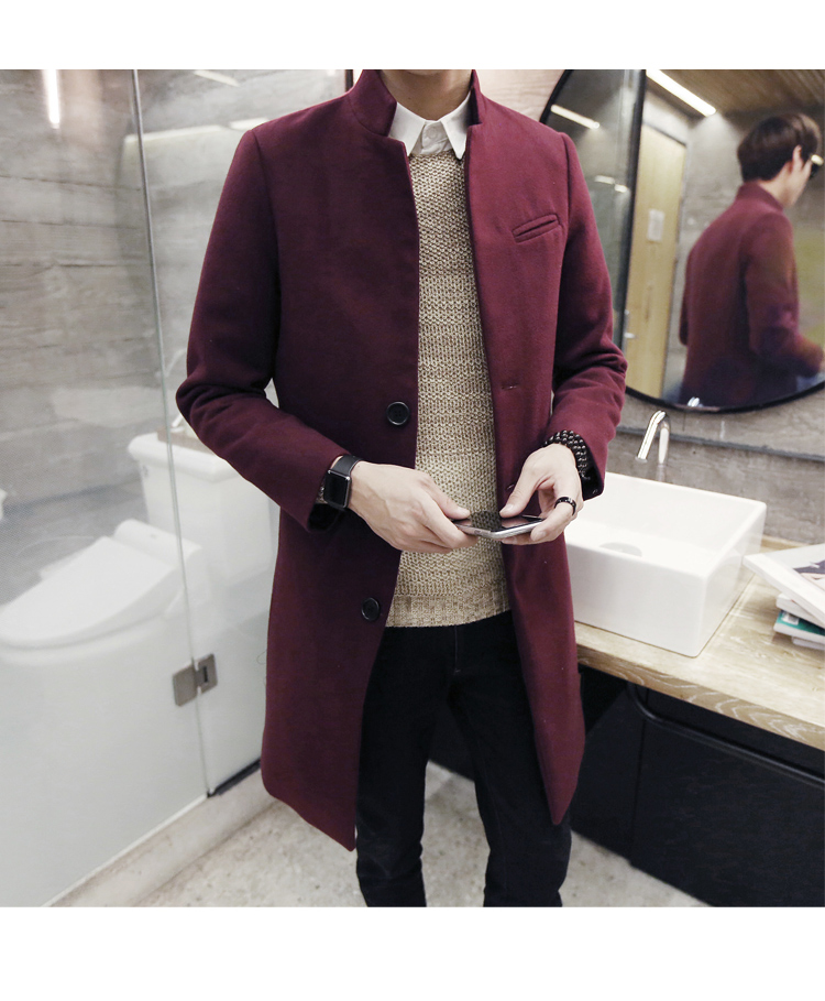 2018 male winter stand collar single breasted slim Dust coat / men's solid color youyh pop plus velvet thick casual long trench