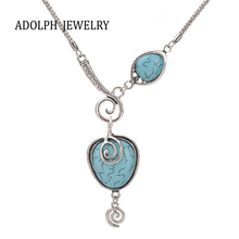 ADOLPH Jewelry New Design Brand Accessories For Women Bohemia Style Alloy Snails Stone Peach Heart Pendant Statement Necklace
