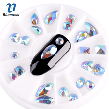Blueness 1 Wheel Mixed 12 Styles AB Diamond Nail Rhinestone DIY Manicure 3D Nail Decoration Studs Nail Art Stickers ZP328(China)
