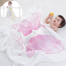 spring and summer air conditioning blanket girls Angel Wings muslin cotton infant holds blankets blanket bath towel 115x120cm