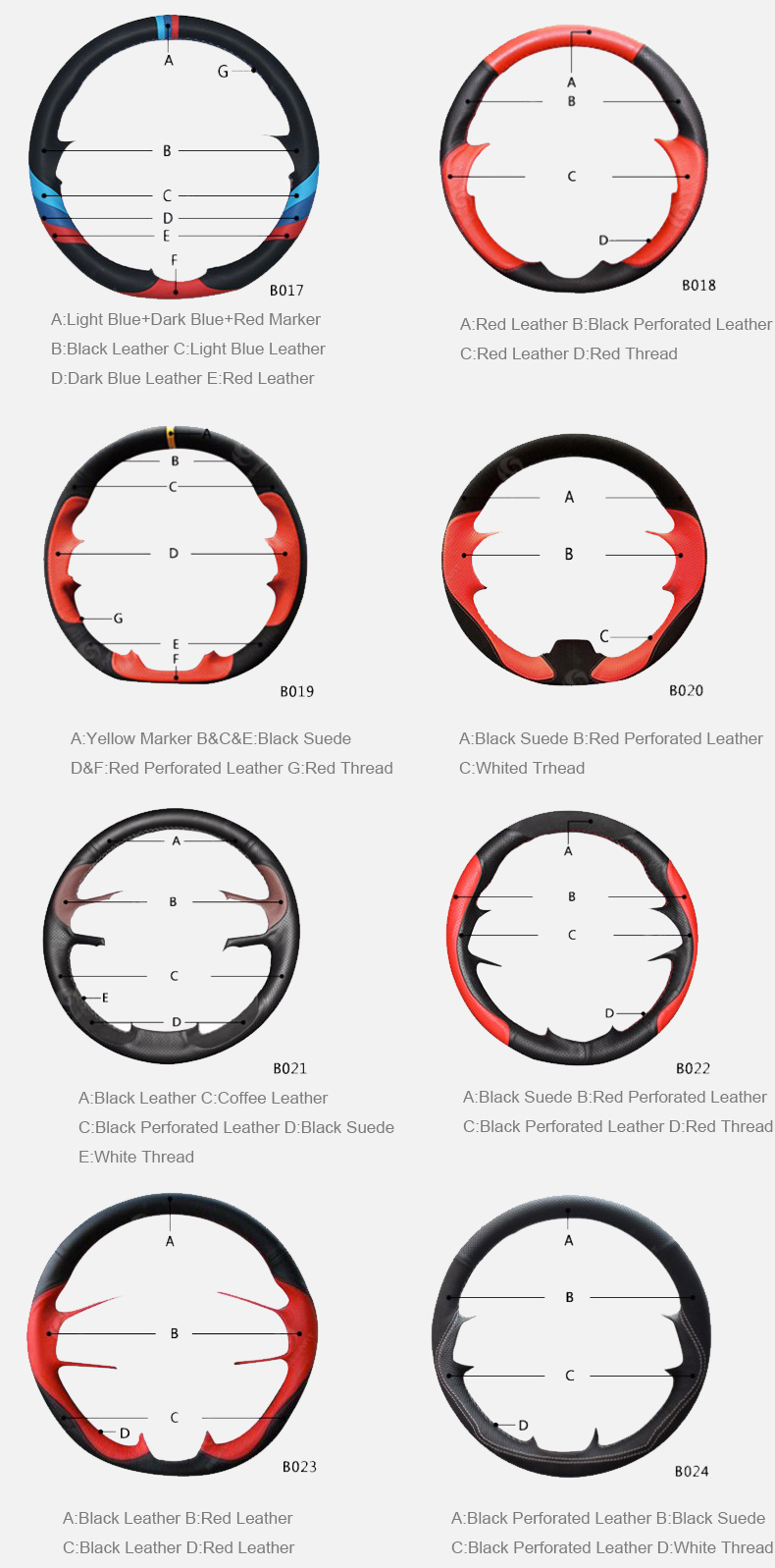 genuine leather customization steering wheel cover style 04
