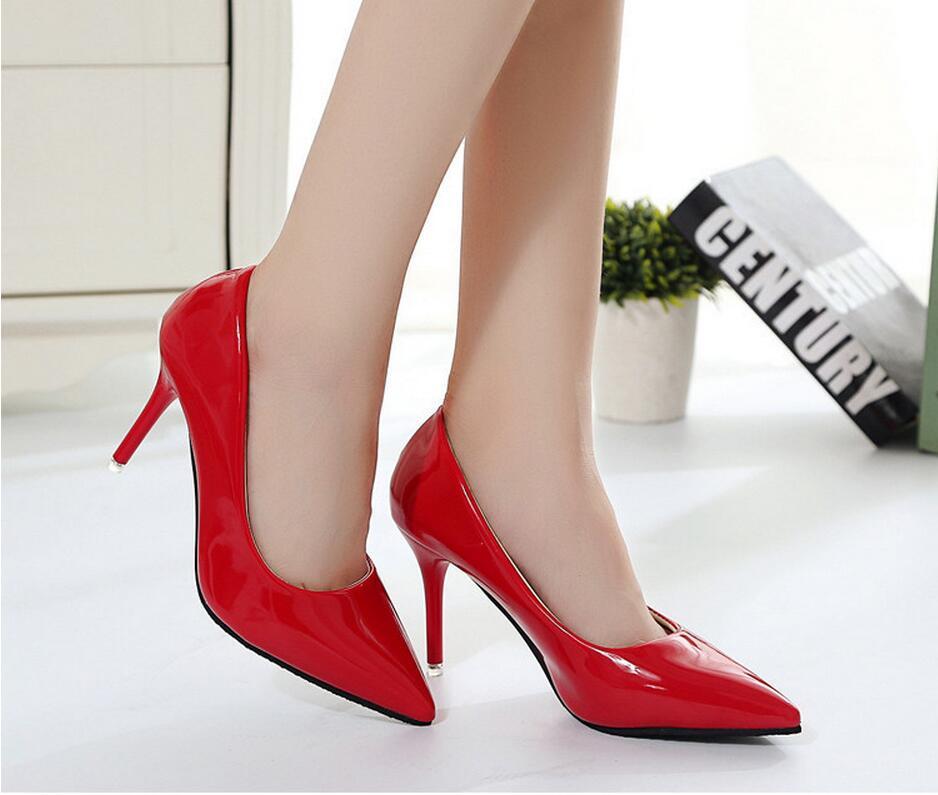 2018 Femmes Chaussures Bout Pointu Pompes En Cuir Verni Chaussures Habillées Talons hauts 37