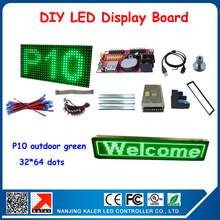 P10 green color outdoor LED module waterproof led screen outdoor 40*72cm 32*64pixel led matrix usb input(China)
