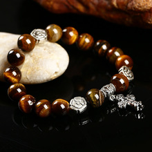 Pick Style:Natural  lava, black crystal, Onyx, Tiger Eye, Blue gravel Beaded Bracelets for Women and Men Cross Charm Bracelets