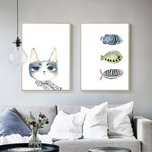 2017 Hot Sale Fashion Fishmael Cat print Poster painting on canvas oil paints for Living room Home Decor SC41
