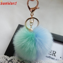 1 pcs Faux Rabbit Fur Ball Keychain Charm Plush Car Key chain Handbag Key Ring Pendant  Delicate