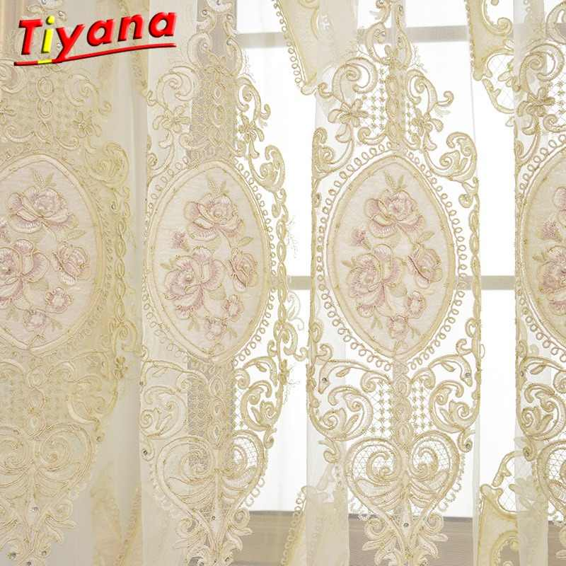 Modern Tulle European Luxury Curtains Drapes Rideaux Window Lace Curtains for Living Room Decorative Items Embroidery Sheer *30