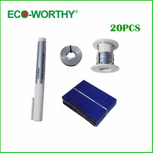 ECO-WORTHY 20pcs 52*39mm poly solar cell full kit tabbing wire bus wire flux pen for DIY 10w solar light , Free shipping(China)