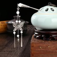 Women Vintage Chinese Traditional Butterfly Tassels Hair Stick Pin Accessory(China)