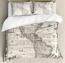 World map bedding promotion shop for promotional world map bedding decor duvet cover set image of antique map america in 1600s world in medieval time ancient era 4 piece bedding set gumiabroncs Gallery