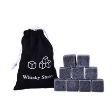 9PCS 20mm ice stones cooling stones whiskey stones Drinks Cooler Cubes Beer Rocks Granite with Pouch champagne cooler