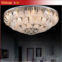 Circular K9 Crystal Ceiling Lamp Lustres Creative Minimalist Peacock E27 LED Lighting Bedroom Sitting Room Dining Room Lamp(China)