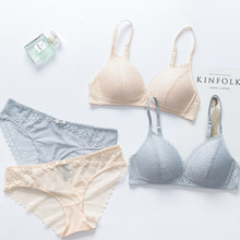 Japan Comfortable Sexy Bra Set Solid Color Push Up Lace Thin Triangle Cotton Cup Underwear Women Lingerie Panties Soutien Gorge(China)
