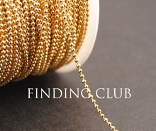 New factory price 10 Meters 1.5mm KC Gold Brass Ball Chain Jewelry Findings in Bulk
