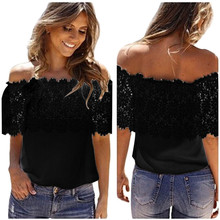 2017 Fashion Casual Sexy Women Blouses Off Shoulder Short Sleeve Chiffon Tops Shirt Lace Crochet Blouse Shirts Female Blusas
