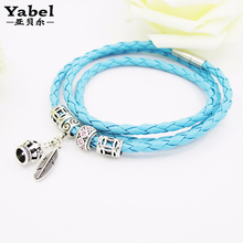 Leather Plaited Bracelets & Bangles Silver Plated Crown And Lucky Feather Bead Charm Fit Pan Fashion Jewelry for Women  Gifts