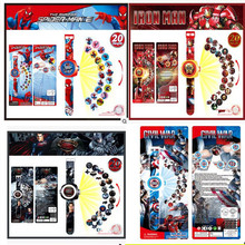 1pcs LED Digital Projector Cartoon Watch 20 Style Figures Captain America Spiderman Color Box Packing Kid Gift Toy(China)