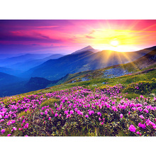 New Generation DIY 5D Diamond Embroidery Landscape Sunrise and Purple Flower Pattern Painting Rhinestones Diamond Mosaic Kits zx