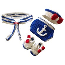Newborn Baby Photography Prop Sailor Infant Boys Girls Crochet Knit Costume Handmade Hat+Shoes+Pants+Scarf 4pcs/Set Outfit 0-4M(China)