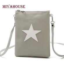 Miyahouse Casual Star Design Mini Shoulder Bag Phone Bag Female Double Zipper Soft Leather Women Crossbody Messenger Bag(China)