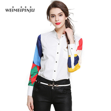 Women Fashion Office Blouses shirts Long Sleeves Summer 2017 White Contrast Red Plaid Ladies Shirt  Mujer Club Elegant Clothes