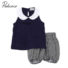 PUDCOCO USA Toddler Kids Baby Girls Summer Beach Outfits Clothes T-shirt Tops Pants 2PCS(China)
