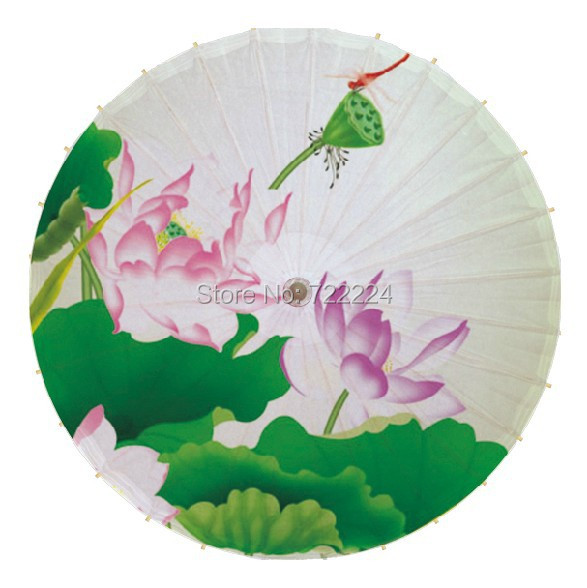 Free shipping Dia 84cm lotus with dragonfly traditional handmade parasol waterproof dance gift decoration oiled paper umbrella<br>