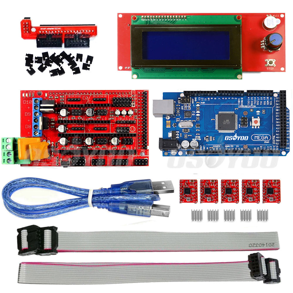 Mega2560 Board+Ramps 1.4+ 5*A4988+2004 LCD Controller for 3D Printer Kit RepRap<br>