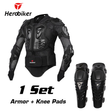 HEROBIKER Motorcycle Riding Body Armor Jacket with Knee Pads Set Motocross Off-Road Dirt BIke Racing Protectors Protective Gear