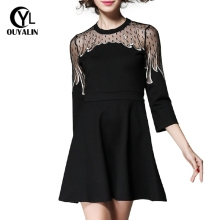S~5XL Sheer Lace Patchwork Black Dresses Spring Autumn Fire Shaped Embroidered Short Dress Sexy Big Size Women Clothing 1985