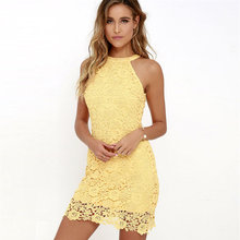 Buy Womens Elegant Wedding Party Sexy Lace S-5XL Plus Size Dress Street Night Club Halter Neck Sleeveless Sheath Bodycon Lace Dress