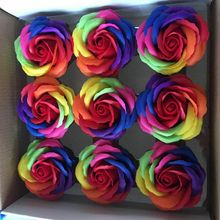 9pcs colorful soap rose flower heads roses Wedding decoration Valentines Day gift soap flower heads decorative flowers