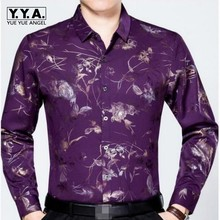 Spring Top Brand Comfortable Silk Fabric Mens Shirts Long Sleeve Fashion Floral Homme Clothing Slim Fit Straight Shirts For Men