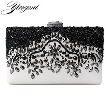 YINGMI Fashion Pu Embroidery Women Beaded Evening Bags Small Chain Shoulder Messenger Chain Long Diamonds Day Clutches()
