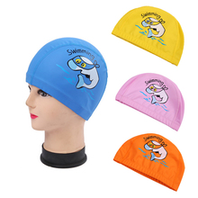 New Children's Sport Swimming Cap 4 Colors Cartoon Waterproof PU Swimming Caps Animal Printing Kid's Cover Hat Swim Gear(China)