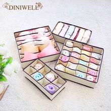 DINIWELL 4PCS Storage Boxes Ties Sock Shorts Bra Underwear Divider Drawer Lidded Closet Home Organizer Ropa Interior Organizador(China)