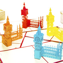 Christmas Gift The United Kingdom Big Ben Origami 3D Pop up Paper Laser Cut Vintage PostCards Greeting Cards Happy Birthday Gift