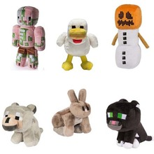 New Arrival Minecraft Stuffed Plush Toys 18-20cm Minecraft Snow Golem Steve Zombie Wolf Ocelot Rabbit Chicken Plush Toy for Kids(China)