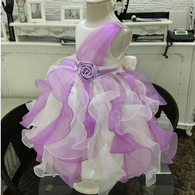Free Shipping Ruffles White With Purple Flower Girl Dress Mix Color Girl Party Dresses For Kids 2-10 Years Glamour Gowns C165<br><br>Aliexpress