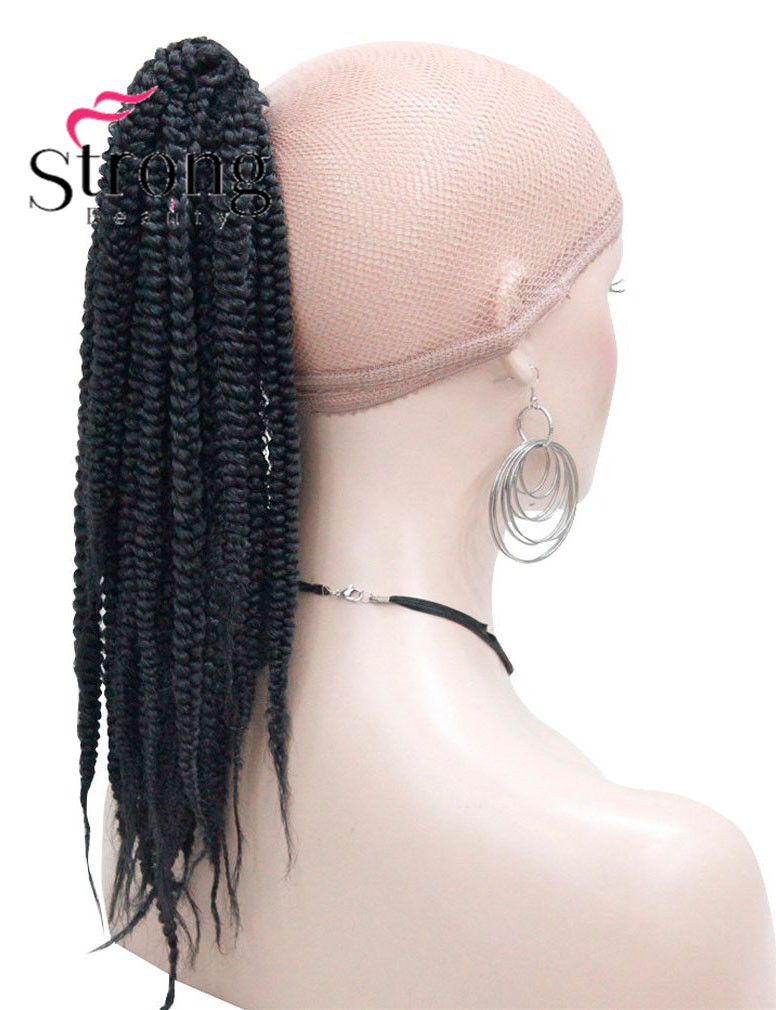 Long Afro Kinky Curly Crochet Twists Braids Ponytail Hair Extension Synthetic HairPiece with Jaw Claw Clip (Black) (3)