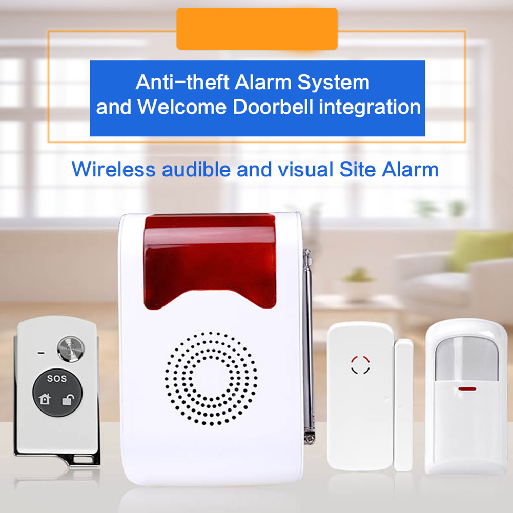 Wireless Door/Window Voice Sound and Light Prompt Home Security Alarm Live Alarm Security System Strobe PIR Motion Detectors<br>