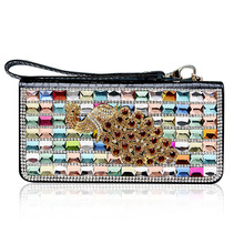 luxurious style genuine leather women long wallet with diamond lady's cowhide leather wallets with Crystal diamond peacock