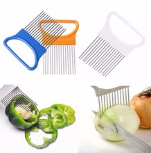 Convenient Kitchen Cooking Tool Stainless Steel Onion Tomato Vegetable Slicer Cutting Aid Guide Holder Meat  Fork Fruit Slicing