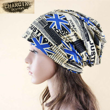 New Arrival Multifunctional Women's Hat Scarf Stripped Hip Hop Beanie Spring Autumn Snapback Cap Circle Beanie