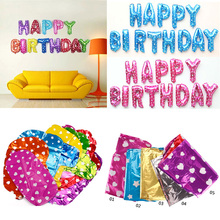13pcs/Set Happy Birthday Letter Shaped balloons Multi Color Foil Balloons Party 1st Birthday Party Decaoration #92667